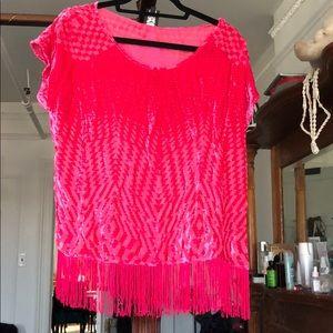 Ella Moss Velvet Geometric Shirt with Fringe